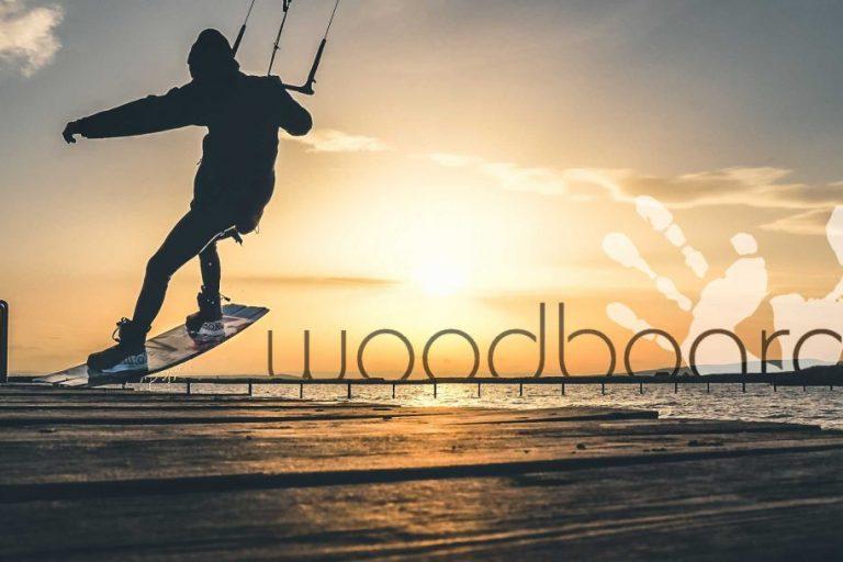 Woodboard banner, mólo v Breitenbrunn, západ slnka
